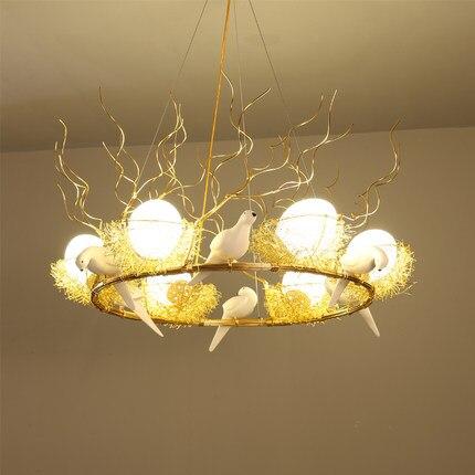 Rétro fer branche pendentif LED lustres Lustre salle à manger LED Lustre éclairage oiseau nid LED luminaires suspendus luminaire - 5