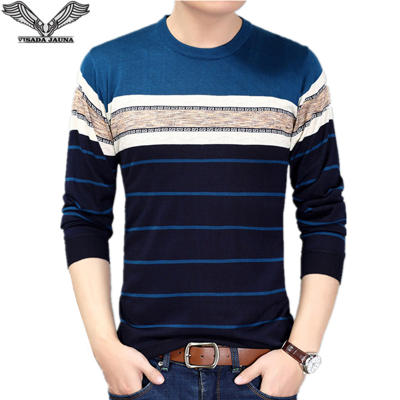 Visada Jauna 2017 New Style Autumn Casual Fashion Mens O-neck Sweater Slim Fit Knitting Pullover Plus Size Men's Sweater N6620