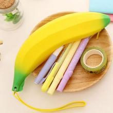 Bag School Pouch Stationery-Supply Pencil-Bag Coin-Purse Banana-Shape Silicone Kawaii