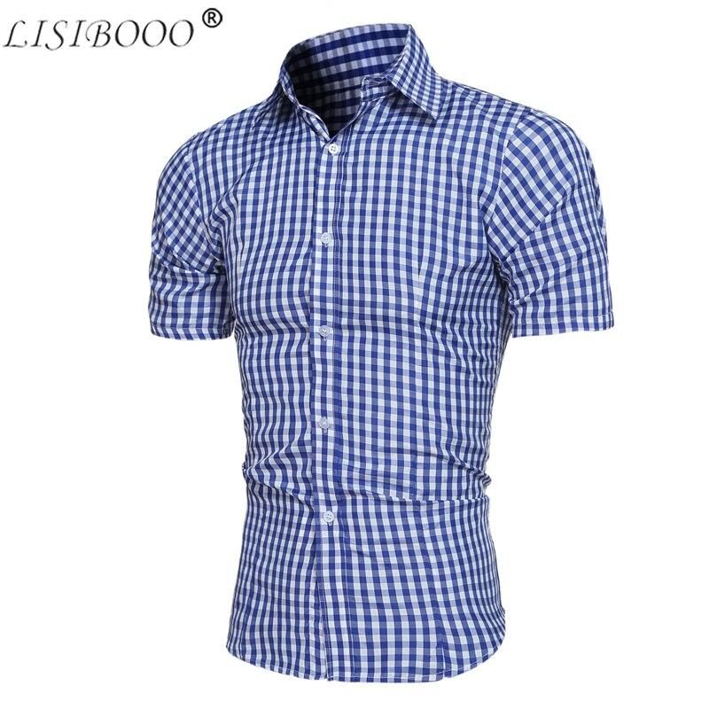 Fashion Men Solid Short Sleeve Shirts Mens Dress Shirt Plaid Shirt Mens Casual Short-sleeved Slim Fit Shirt Men Casual Tops