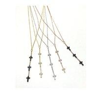2016 mikro pflastern cz drei kreuz baumeln anhänger 925 sterling silber frauen lange halskette