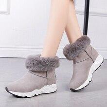 Rimocy botas de nieve cálidas zapatos de plataforma de invierno para mujer botas de tobillo plano de felpa dentro de Bota Feminina gris Casual zapatos de mujer