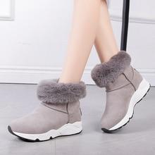 Rimocy/теплые зимние ботинки; женская зимняя обувь на платформе; женские ботильоны на плоской подошве с плюшевой подкладкой; Bota Feminina; серая повседневная женская обувь