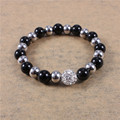 2015 Trendy Stainless Steel Handmade Beaded Stretch Bracelet Top Crystal Ball Women Jewelry Accessories Simple wholesale lots