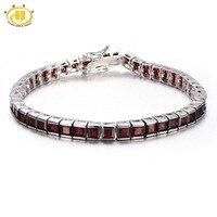 Hutang Mode 21.6Ct Natuurlijke Granaat Link Armband Solid 925 Sterling Zilver vrouwen Real Gemstone Armband Fijne Sieraden Gift