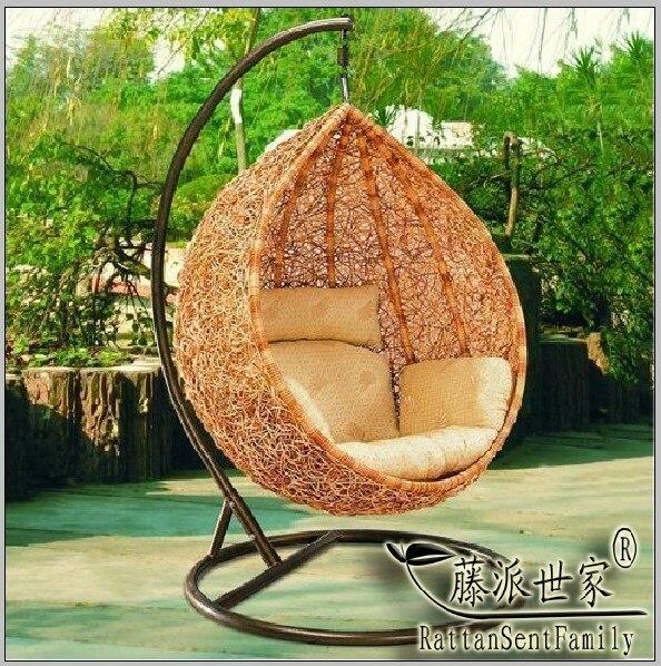 Indoor Outdoor Swing Chair Rattan Hanging Basket Rocking Bird Nest Mat
