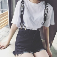 Summer Women Ripped Holes Denim   Shorts   Vintage Slim High Waist Black Jeans   Shorts   Letter Printed Strap Removable Casual Overalls