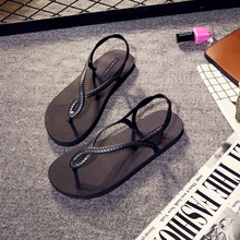 цены Women shoes 2018  summer  Female slippers  Fashion wear-resistance  flip top black air non-slip espadrilles flat