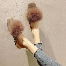 2018 Autumn and Winter Women Shoes Fashion Rabbit Fur Leather Slippers Warm Flats Shoes Sling Back Flip Flop Loafers Free Ship free shipping small size 2018 autumn imitation rabbit fur shoes tassel women s shoes flat single shoes pointed and velvet