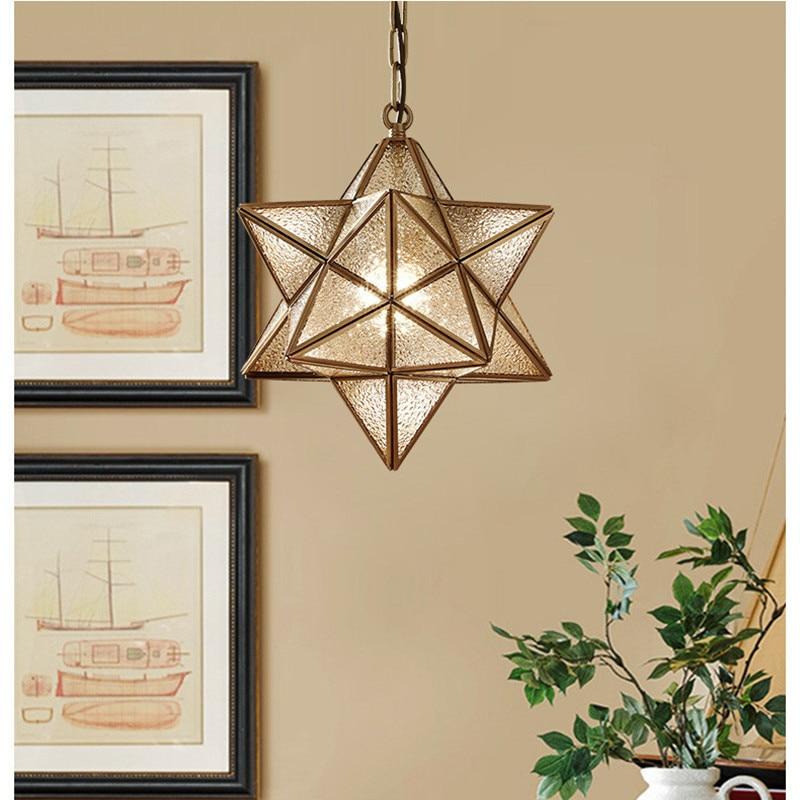 купить Modern Loft Art Star Glass Pendant Lights Creative Star Retro Bronze Warm Study Bars Cafe ,Aisle Led Hanging Light Fixtures по цене 5964.74 рублей