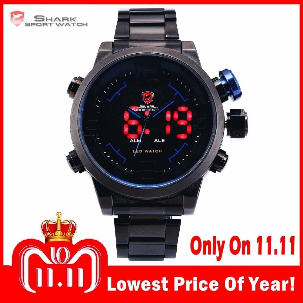 Gulper SHARK Sport Watch Luxury Brand LED Analog Date Quartz Blue Button Steel Strap Men Quartz Watches relogio masculino /SH106 steel strap number quartz date watch