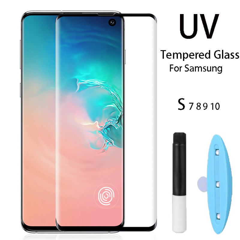 UV Full Glue Tempered Glass For Samsung S8 S9 S10 Plus Screen Protector For Samsung Galaxy Note 8 9 S7 Edge With UV Liquid Full