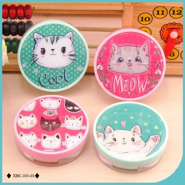 Lymouko Новый Дизайн милые приятные маленькая кошка Портативный контейнер Контактные Оптические стёкла коробка для комплект Для женщин девушке подарок контактные линзы