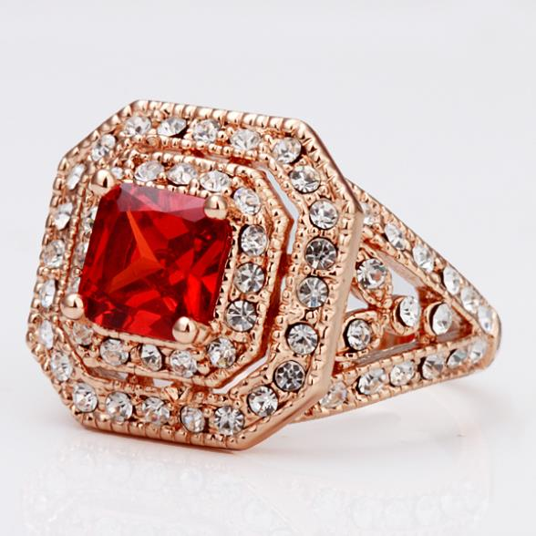 fd98048028910d 2014 Hot Sale Luxury Ruby Engagement Trendy Female Wedding Dress Rings  Women Party 18K Gold Plated Ring Brand Jewelry Antique