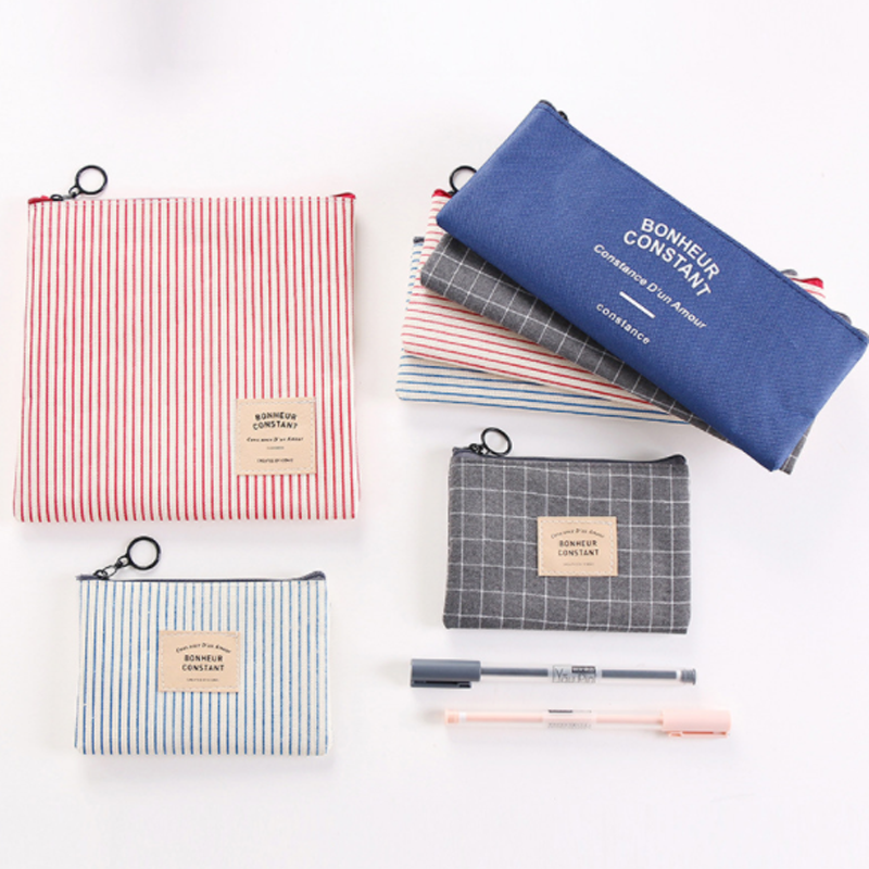 1 Pcs/set Simple Color Canvas Brief Style Grid & Stripes Pencil Case Stationery School Supply Pencilcase Bag Penalty