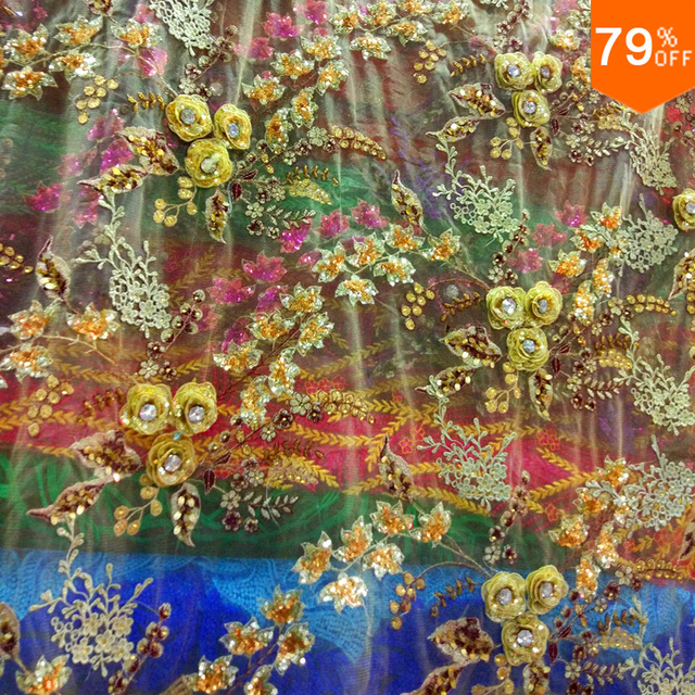 The extremely Luxury and expensive high-end curtain Tulle Sheet hand many 3D flowers and leaf on it beads luxury curtains