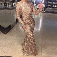 NEW Elegant Full Sleeved O Neck Gold Sequined Party Dress Stretch Floor Length Bodycon Black Maxi Dress Linning Evening Gown