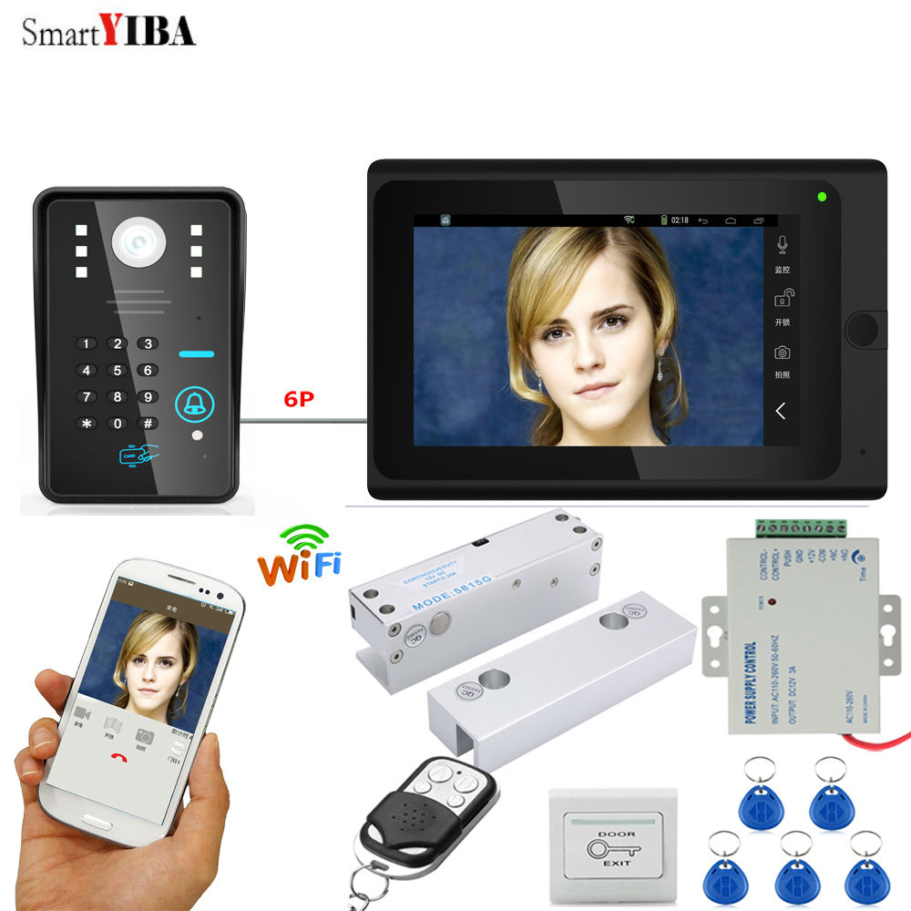 SmartYIBA WIFI Video Door Entry Phone Call System APP ID Cards/Exit Button/Remote Contro ...