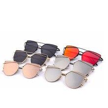 0c6098d8ec Moda Vintage señoras gato ojo gafas de sol mujeres hombres marca diseñador  oro rosa doble-viga espejo gafas de sol para mujer