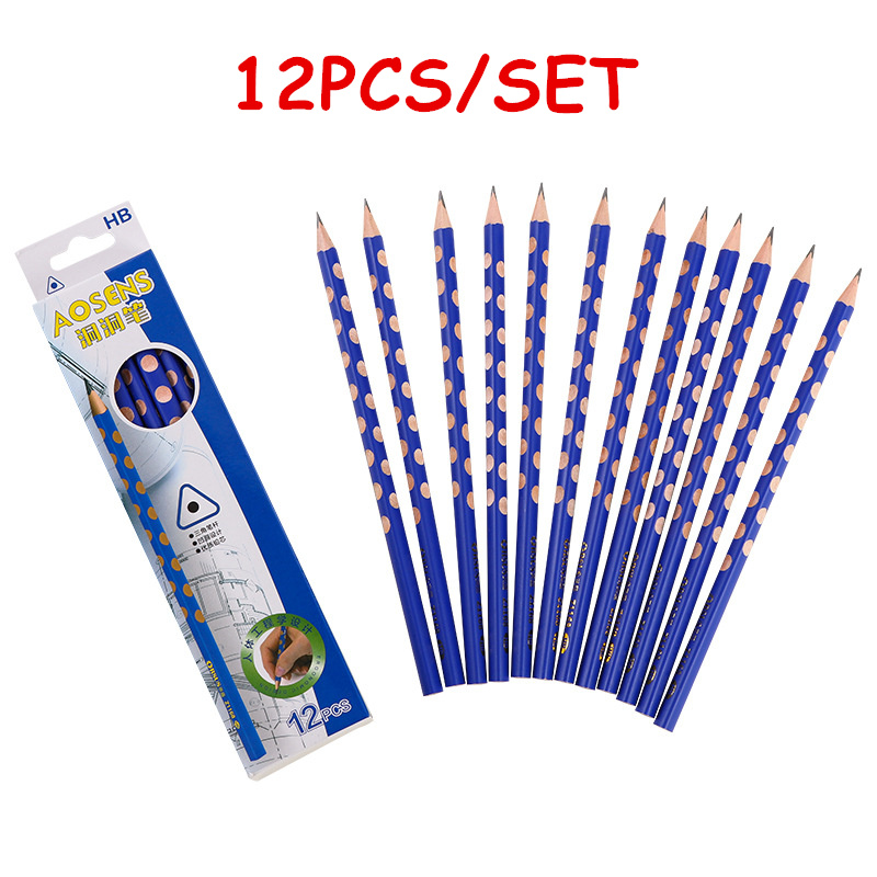 12Pcs/Set Hole Pencil Hb Pencil Stationery Writing Supplies Triangle Cute Pencils For School Basswood Office Kids Gift Lapices