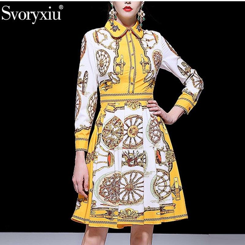 Svoryxiu Fashion Designer Spring Summer A Line Dress Women s luxury Diamonds Collar Yellow Print Female