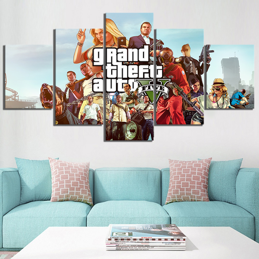 5 Piece Game Poster Grand Theft Auto V Pictures Canvas Paintings GTA 5 Poster HD Wall Pictures Artwork Canvas Paintings 1