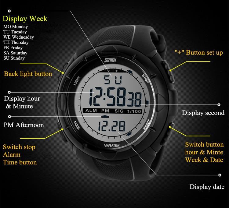 18 New Skmei Brand Men LED Digital Military Watch, 50M Dive Swim Dress Sports Watches Fashion Outdoor Wristwatches 24