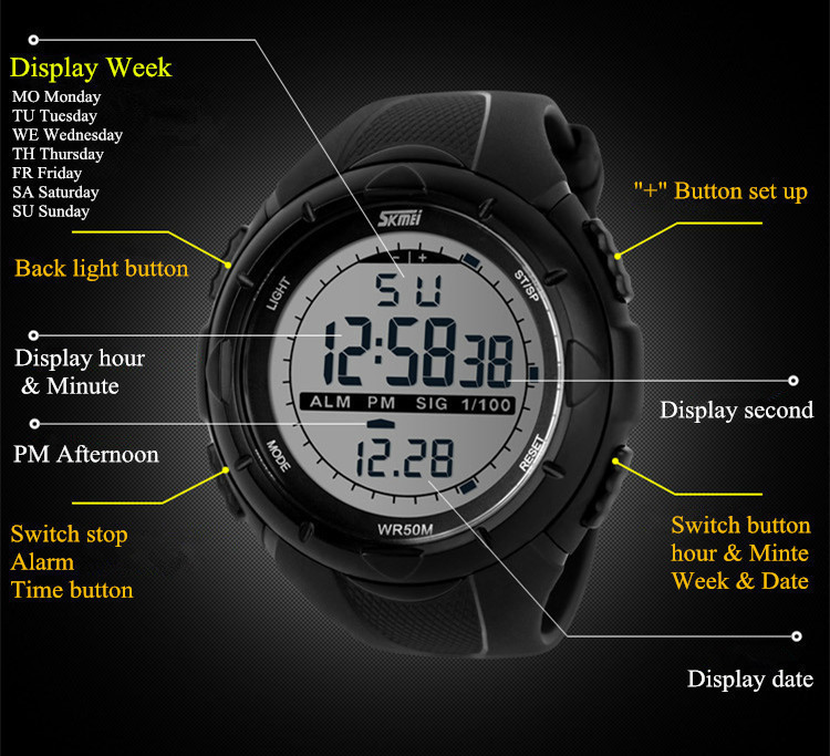 18 New Skmei Brand Men LED Digital Military Watch, 50M Dive Swim Dress Sports Watches Fashion Outdoor Wristwatches 24