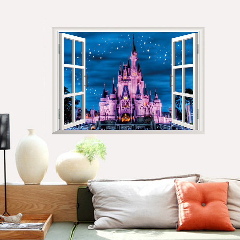 3d Window Decal Europe Castle Wall Stickers Home Decals Fairy Tale Wall Paper Craft Kids Room Decoration Girls Bedroom Decor