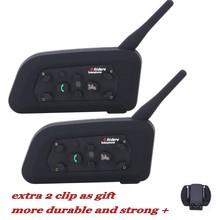 2016 Novo! 2 pcs 6 Pilotos V6-1200M BT Interfone Capacete Da Motocicleta Bluetooth Intercom Walkie Talkie Walkie Talkie Headset Clipe Extra como Presente!