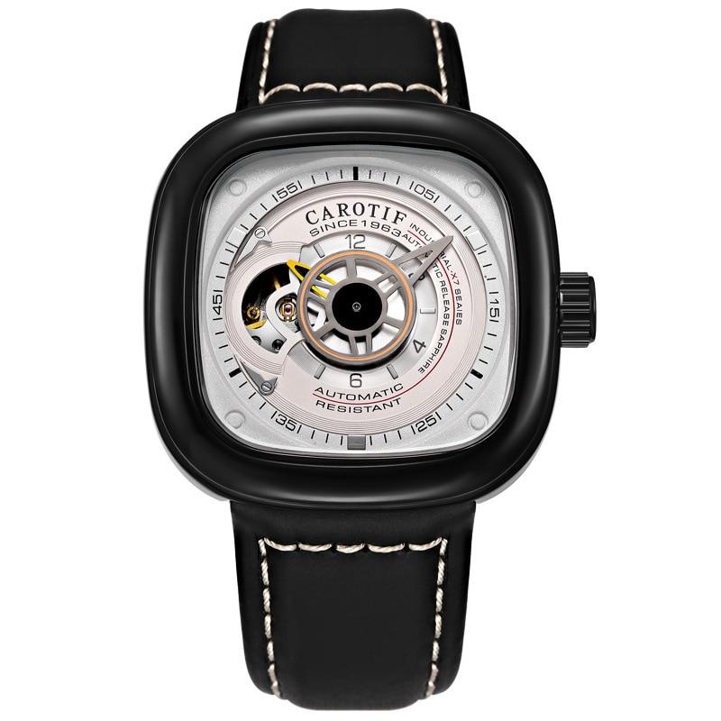 Marque de luxe hommes montre mécanique en alliage boucle ardillon en acier inoxydable montre Tourbillon mode tendance carré en cuir montre pour hommes