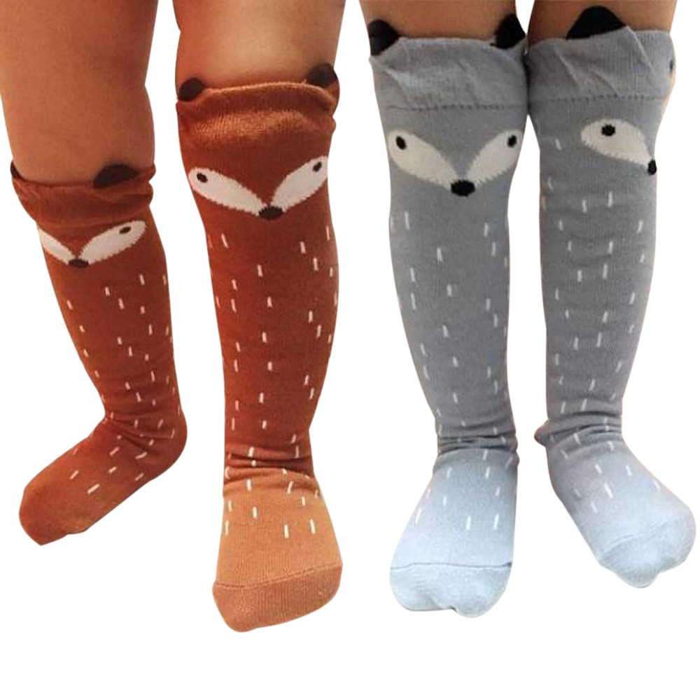 1Pair Fashion Cute Kids Children Girls Boys Unisex 100% Organic Cotton Carton Fox Pattern Autumn Winter Warm Knee High Socks