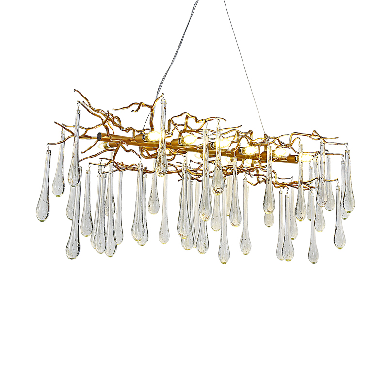 Французская хрустальная лампа для гостиной, люстра, светодиодный украшение в виде ветки дерева, люстра для отеля, ресторана - 2