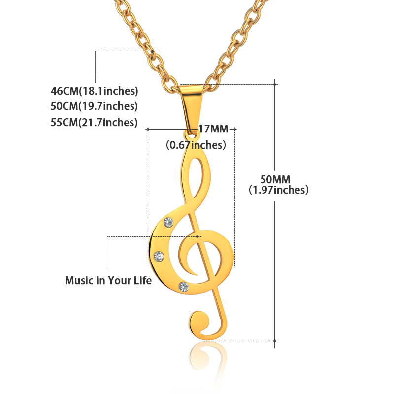 Treble Clef Necklace & Pendant Stainless Steel-