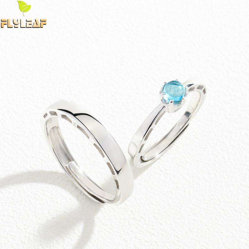 925 Sterling Silver Rings For Women Venice Bridge Of Sighs Blue Crystal Couple Open Ring Men Femme Fine Jewelry Student Gift