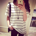 2017 Verão Estilo Harajuku Vento Colégio Listrado Bonito camiseta Mulheres Listras Doces Curto-de mangas compridas T-shirt Blusas Femininas S-XL tamanho