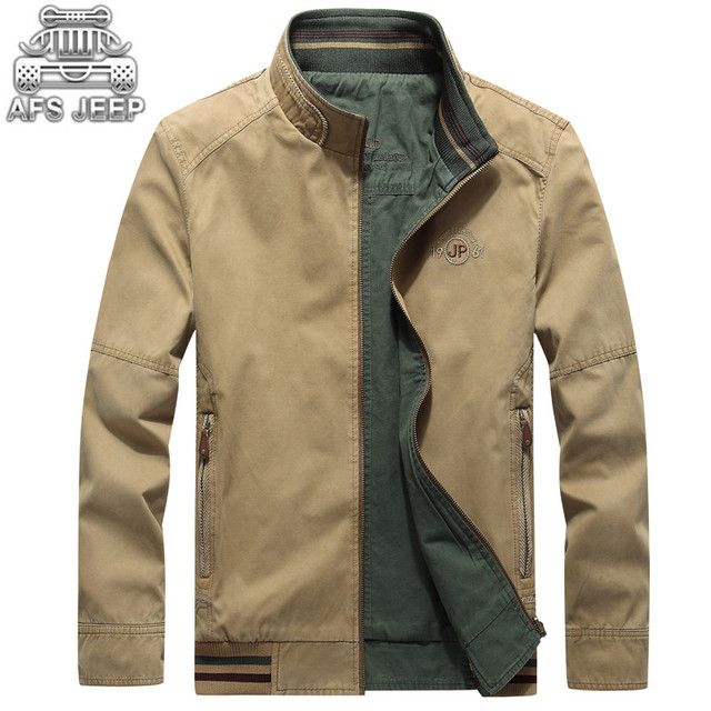 caadc1e4e1d Reversible Men Jacket Loose Plus Size 4XL Double Wearing Casual Jackets and Coats  100% Cotton Army Military AFS JEEP Style