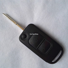 Top Quality For Benz Folding Flip Remote Key Shell 2 Buttons 2 Track HU64 Blade WITH LOGO
