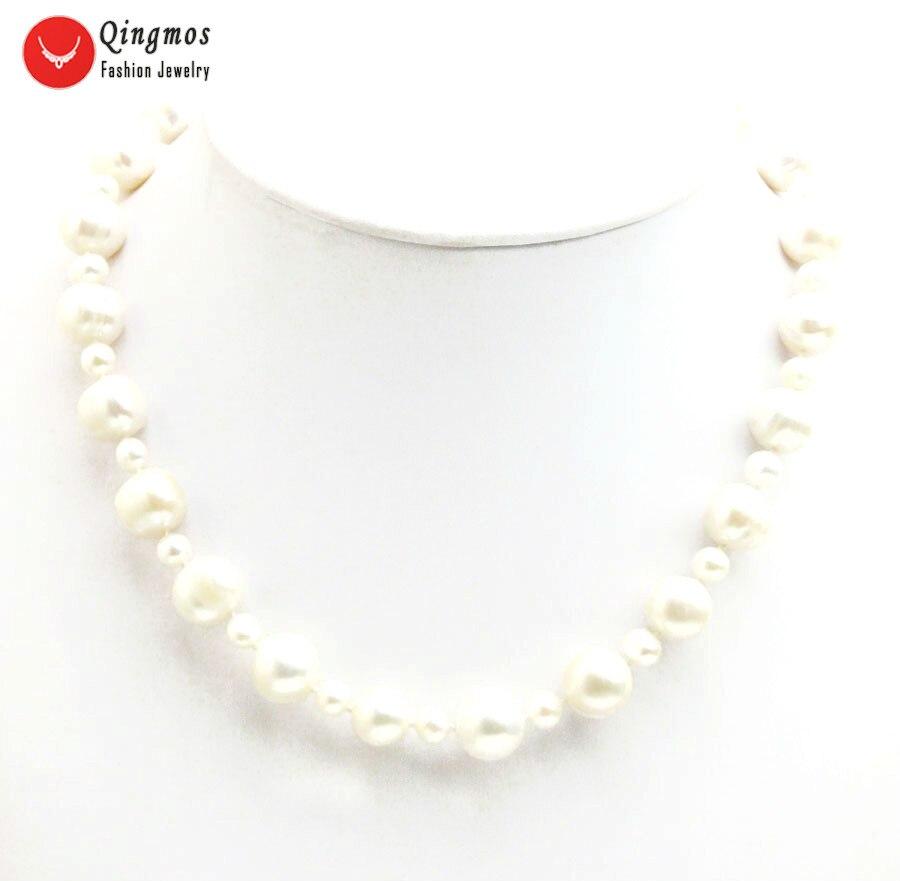 Qingmos collier de perles naturelles pour femmes avec 6-7mm & 11-12mm rond blanc collier de perles d'eau douce Chokers bijoux 17