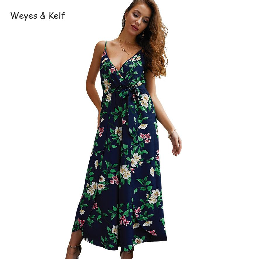 Boho V neck Printed Flower Loose Chiffon Rompers Womens Jumpsuit 2019 Summer Beach Women Rompers in Jumpsuits from Women 39 s Clothing