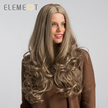 Element long Synthetic Body Wave Light Blonde Color Middle Part Wigs