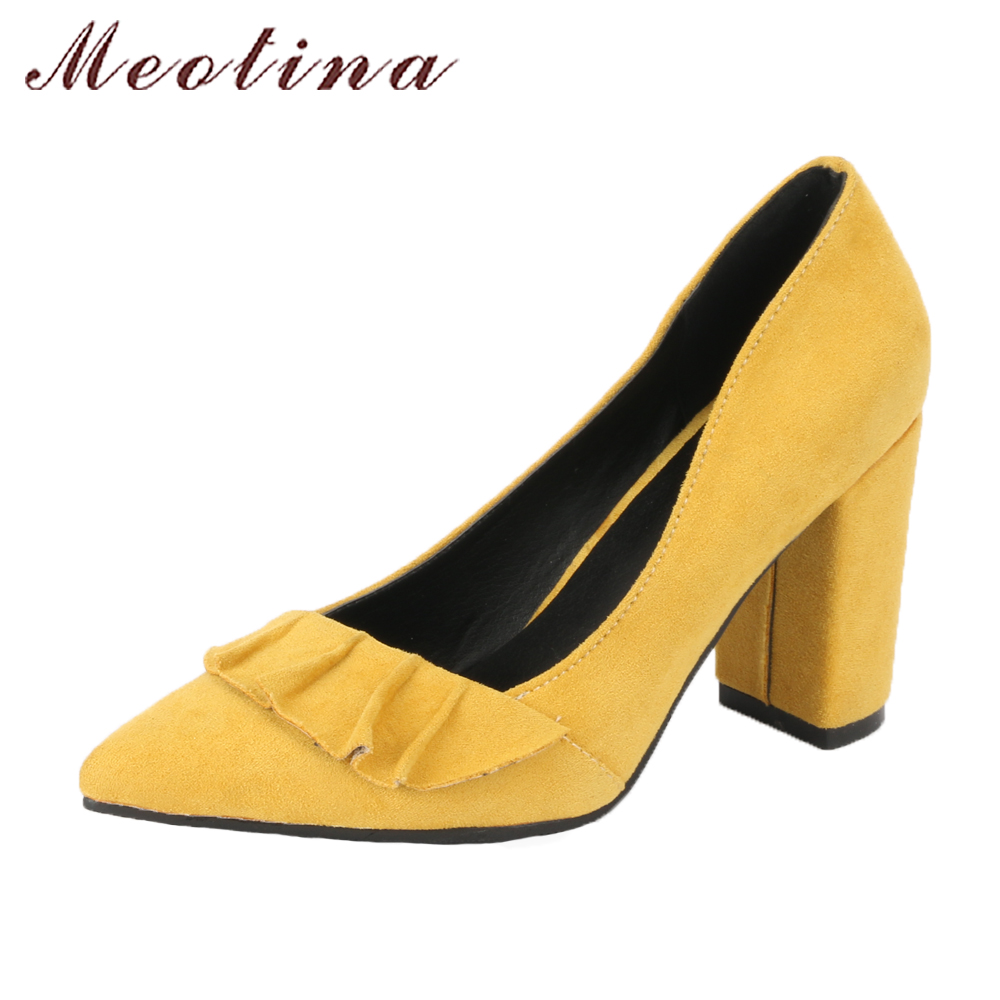 цена Meotina High Heels Shoes Women Pumps Ruffles Party Shoes 2018 Spring Pointed Toe Thick High Heels Slip On Shoes Big Size 42 43