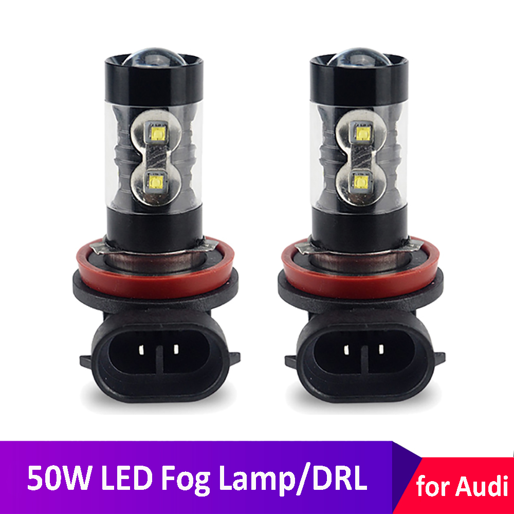 H8 H11 LED Fog <font><b>Lights</b></font> Bulb H1 H3 H7 White 50W Daytime Running <font><b>Lights</b></font> For <font><b>Audi</b></font> A4 B8 B6 B7 A6 4F C6 C5 <font><b>A3</b></font> 8P 8V A5 A7 A8 Q3 Q5 Q7 image