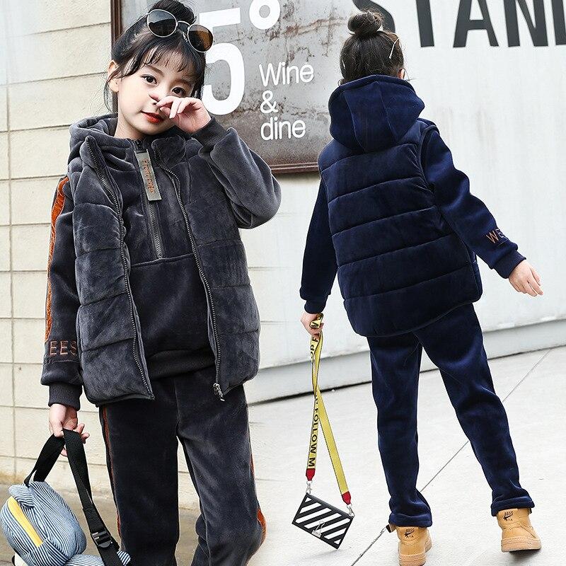 2018 Winter Clothes, New Style, Thickened Gold Velvet, Three Piece Set, Korean Fashion Sportswear, Big Boy Double Faced Velvet S недорго, оригинальная цена