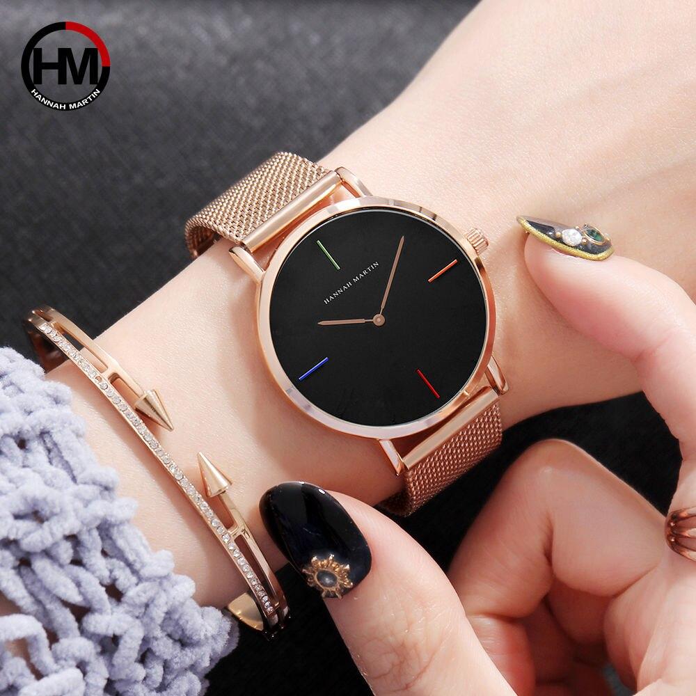 Нержавеющаясталь сетки группа японии кварцевый механизм высокое качество Водонепроницаемый Для Женщин IP покрытие черный женские часы 36 м...