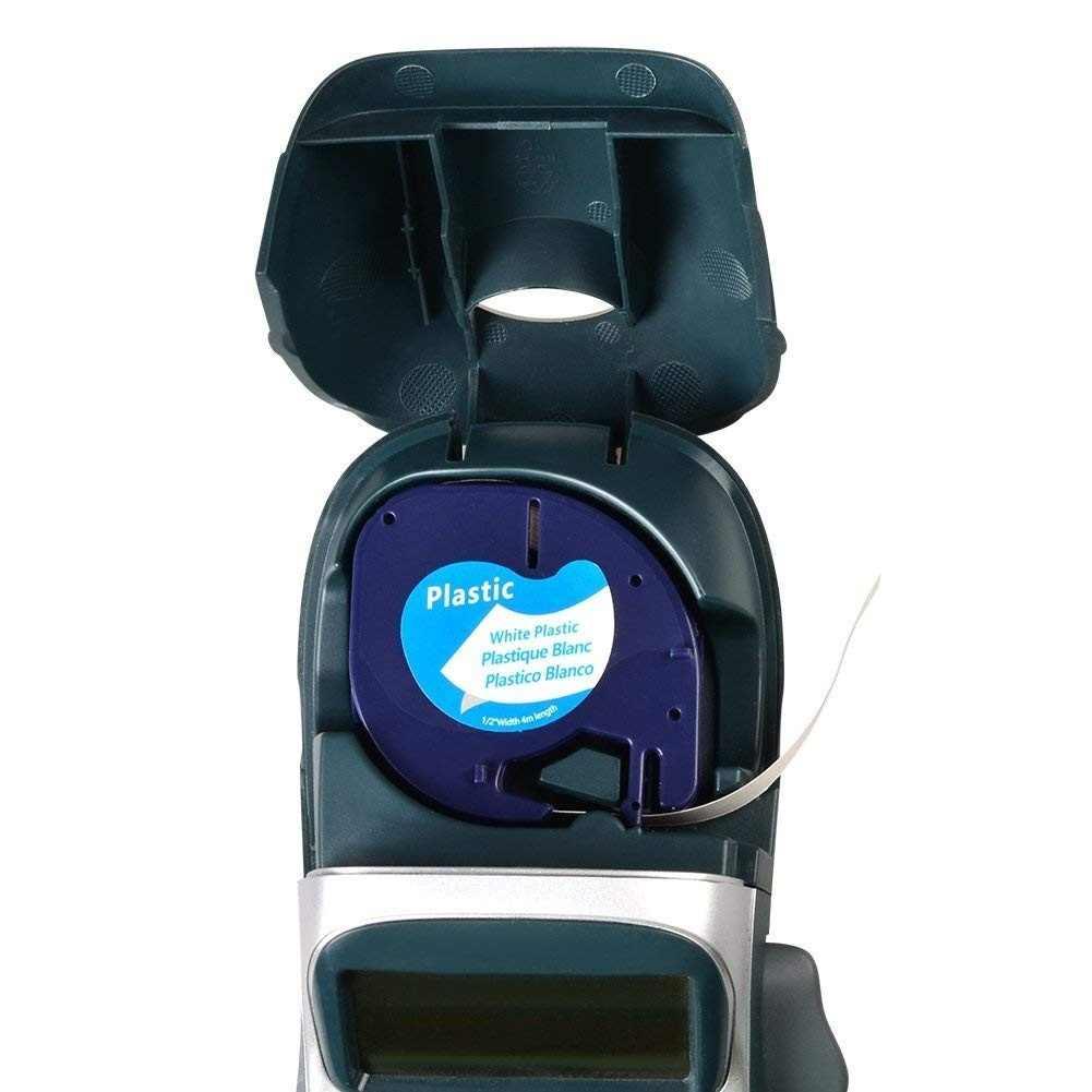 1 Kompatibel DYMO Letratag 91201 Hitam Putih (12 Mm X 4 M) label Plastik Tape untuk LT-100H, LT-100T, LT-110T, QX 50, XR, Xm