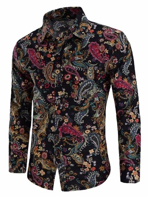 bea9dd7c2 New 2018 Fashion Paisley Print Linen Casual Shirt Male Flax Dress Shirts  Slim Fit Turn-Down Men Long Sleeve Mens Hawaiian Shirt