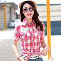 2016 Summer New Short-Sleeved Plaid Shirt Korean Fashion Wild Slim High Quality Cotton Blouse Wholesale 14 Colors In Stock
