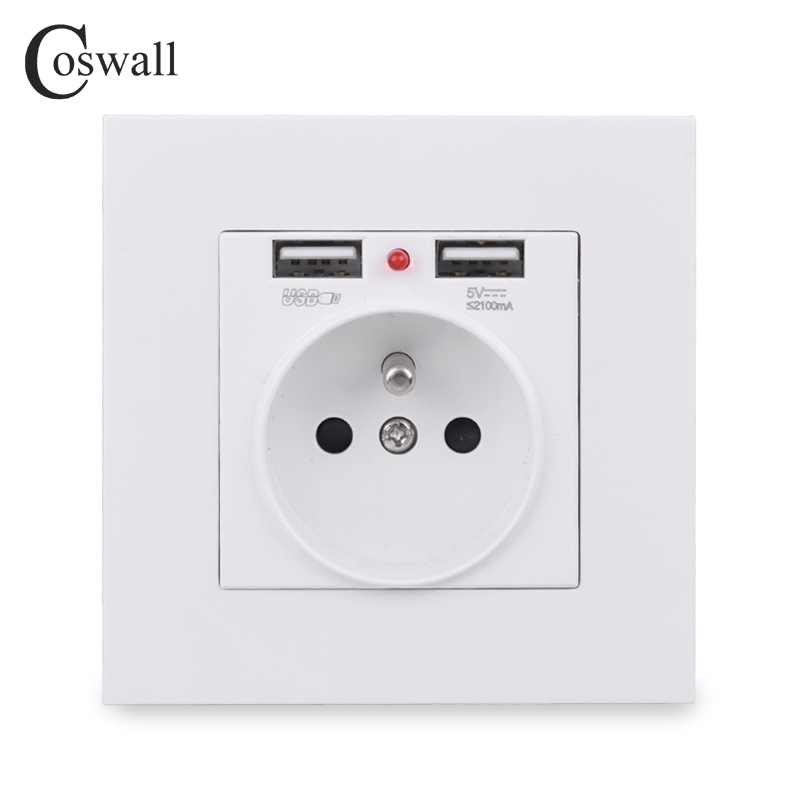 COSWALL Wall Socket Grounded Children Protective Door French Standard Outlet With 2 1A Dual USB Charging Black White PC Panel