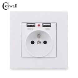 Coswall 2019 novo 16a padrão francês tomada de parede alta qualidade painel plástico pc 2.1a dupla porta carregador usb para mobil